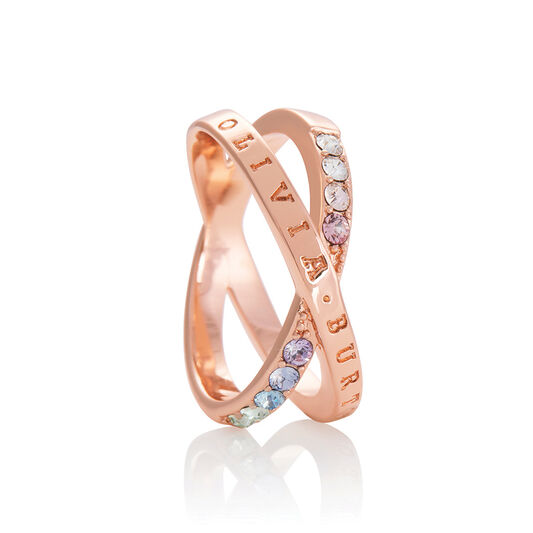 Bejewelled Classics Rainbow Interlink Ring Rose Gold