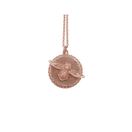 3D Bee & Coin Rose Gold Necklace