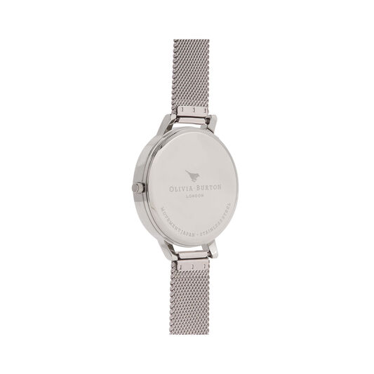 Marble Floral Silver Mesh Watch
