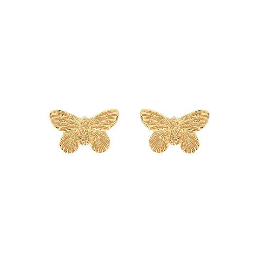 3D Butterfly Gold Studs