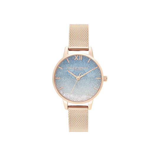Wishing Glitter Dial & Rose Gold Mesh