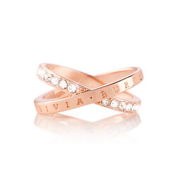 Bejewelled Interlink Ring Rose Gold