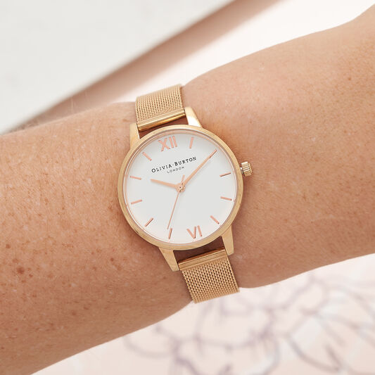White Dial Rose Gold Mesh Watch