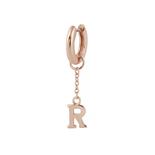 R Huggie Charm Rose Gold