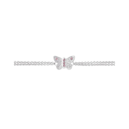 Bejewelled Butterfly Chain Bracelet Silver & Pink Stone