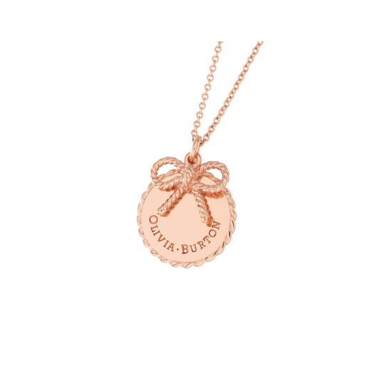Vintage Bow Coin Necklace Rose Gold