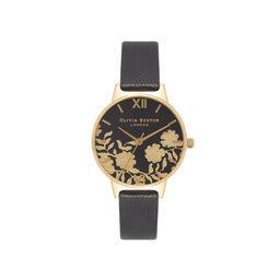 Lace Detail Black & Gold Watch