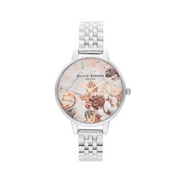 Marble Floral Silver Watch