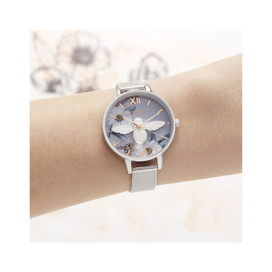 3D Bee, Bejewelled Floral Silver Watch