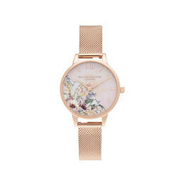 Enchanted Garden Tie Dye Dial Midi Rose Gold Mesh Watch