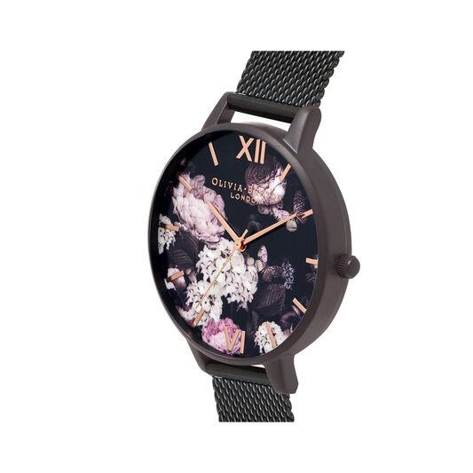 Signature Florals Black Mesh Watch