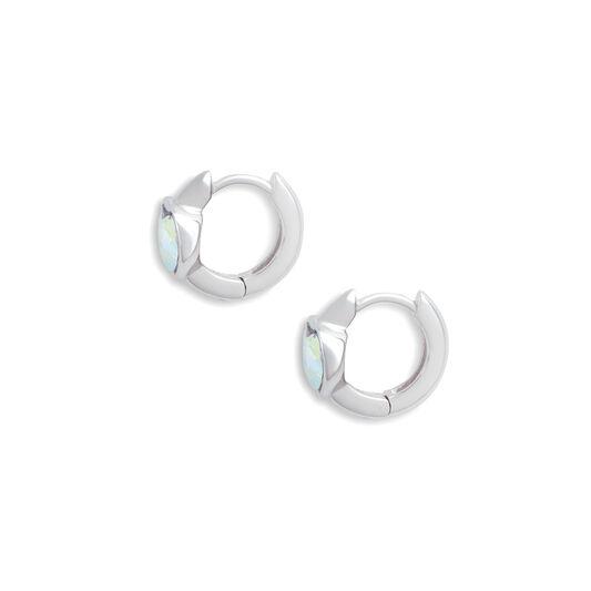 Heart Huggie Hoop Aurora Crystal & Silver