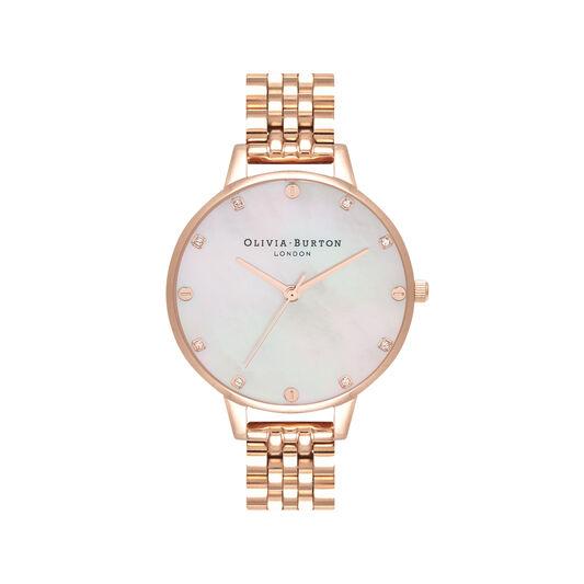 Montre-bracelet en or rose à cadran demi en nacre blush