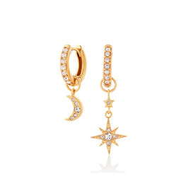Moon & Star Gold Huggie Hoops