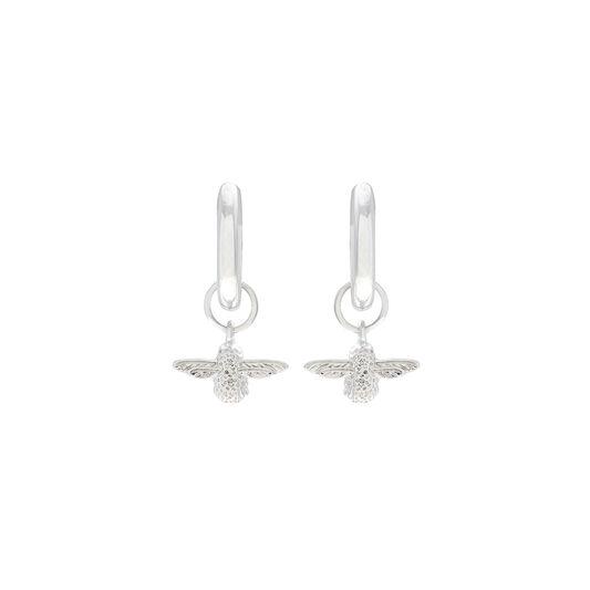 3D Bee Silver Huggie Hoop Earrings