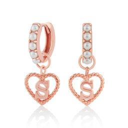 'S' Faux Pearl Heart Initial Huggie Hoop Rose Gold
