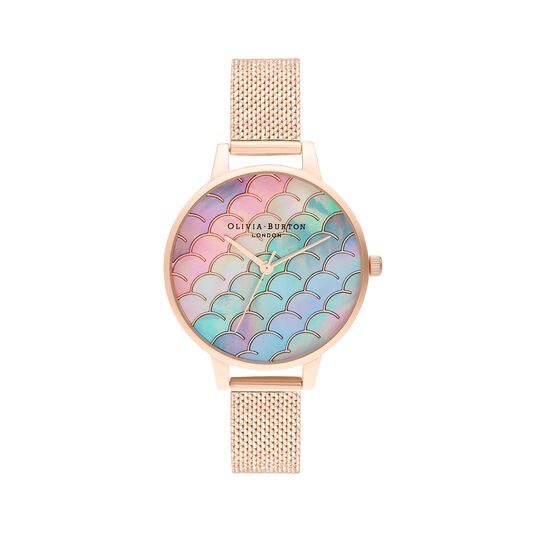 Mermaid Tail Demi Dial Rose Gold Boucle Mesh Watch
