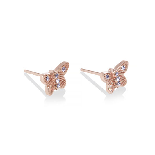 Bejewelled Butterfly Earrings Rose Gold & Tanzanite
