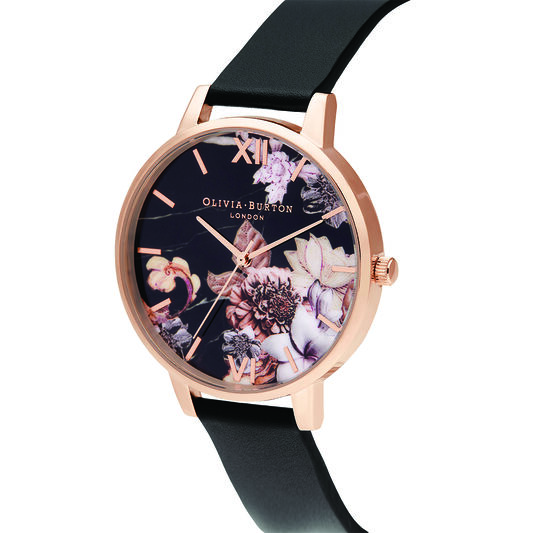 Shoreditch Marble Florals, Black & Rose Gold