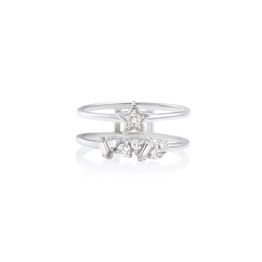 Celestial Double Band Ring Rose Silver M