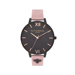 3D Bee Embellished Strap Rose Suede & Ip Black Watch