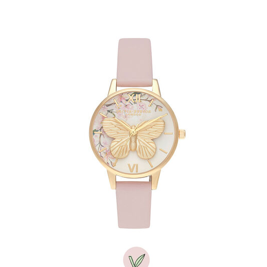 Pretty Blossom 3D Butterfly Vegan Rose & Gold Watch