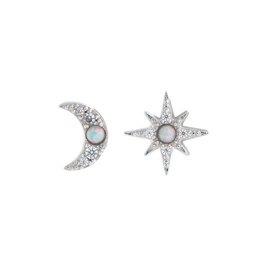 Clous d'oreilles North Star & Moon opale et argent
