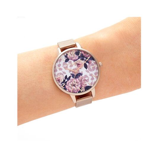 Wildflower Pale Rose Gold Mesh Watch