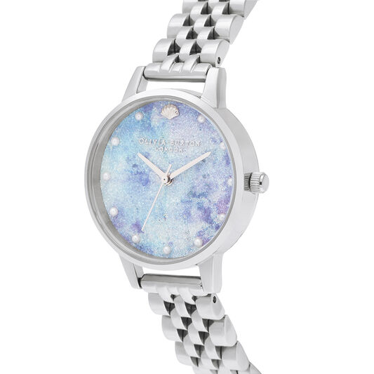 Deep Sea Midi Dial Faux Pearl Markers Silver Watch