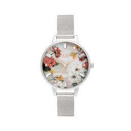 Demi Mother Of Pearl Dial Silver Mesh Watch