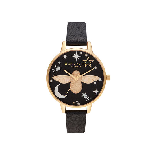 Celestial 3D Bee, Black & Gold Watch