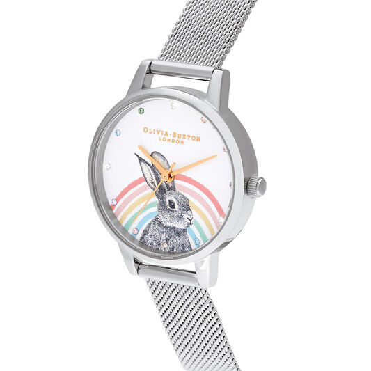 Illustrated Animals Rainbow Bunny, Gold & Silver Mesh