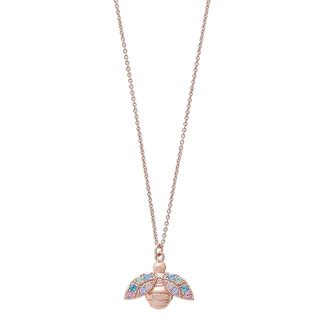 Rainbow Bee Rose Gold Pendant Necklace