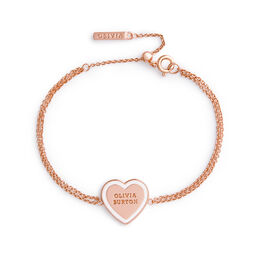 Sweet Heart Rose Gold & White Enamel Bracelet