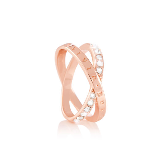 Bejewelled Interlink Ring Rose Gold