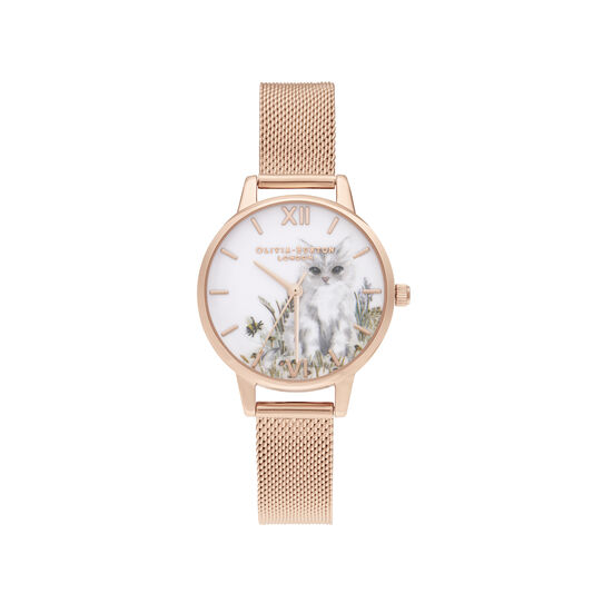 Illustrated Animals Cat Midi Rose Gold Mesh