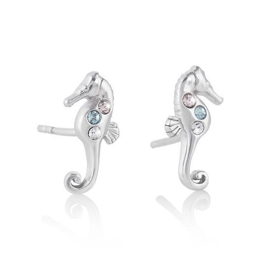 Seahorse Silver Sparkle Studs
