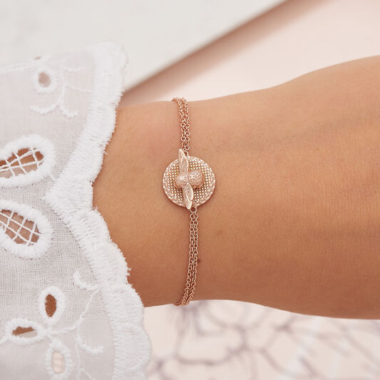 3D Bee & Coin Rose Gold Bracelet