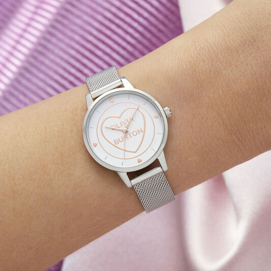 Sweet Heart Midi Silver Mesh Watch