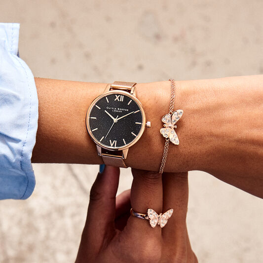 Demi Black Glitter Dial & Rose Gold Mesh Watch