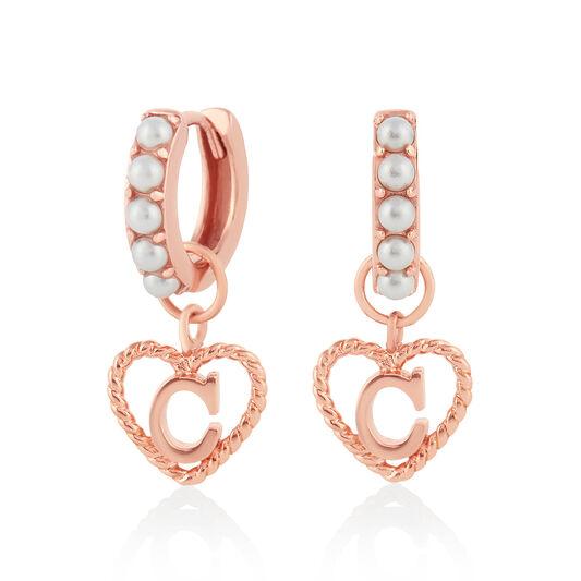 'C' Faux Pearl Heart Initial Huggie Hoop Rose Gold