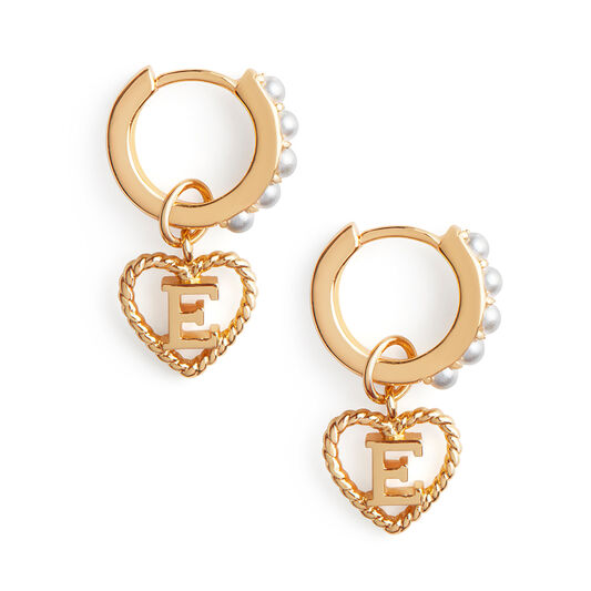 'E' Faux Pearl Heart Initial Huggie Hoop Gold