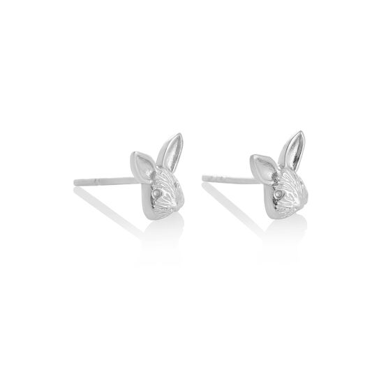 3D Bunny Studs Silver