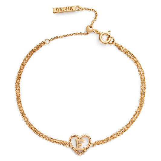 'E' Heart Initial Chain Bracelet Gold