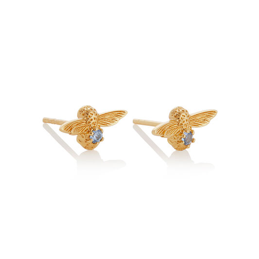 Celebration Gold & Blue Zircon Bee Studs