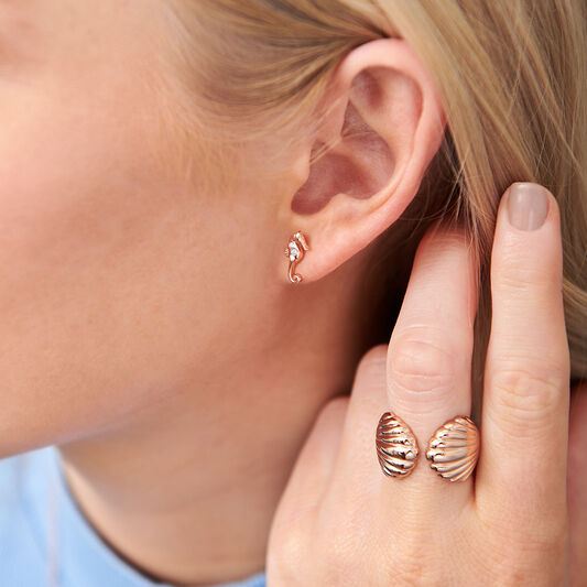 Seahorse Sparkle Rose Gold Studs