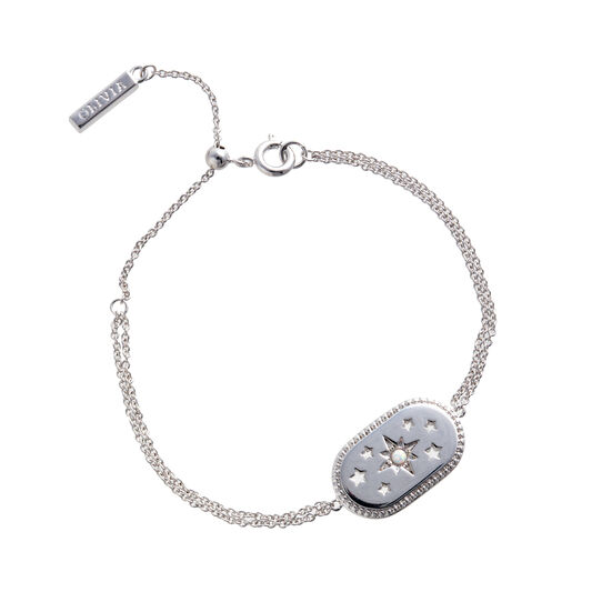 Bracelet North Star ovale opale et argent