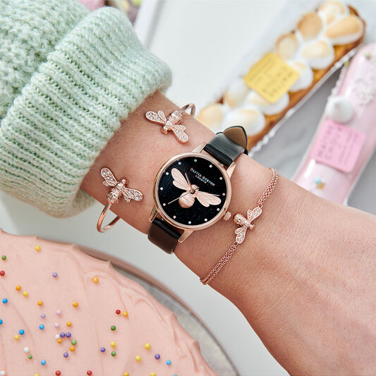 Rainbow Lucky Bee Midi Dial Vegan Black & Rose Gold Watch