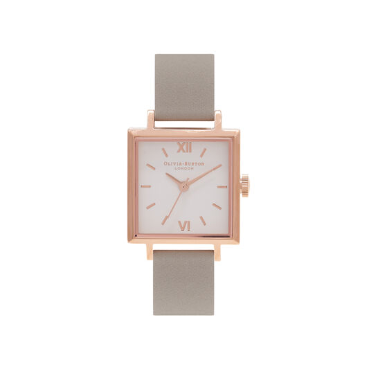 Midi Square Dial Grey & Rose Gold Watch