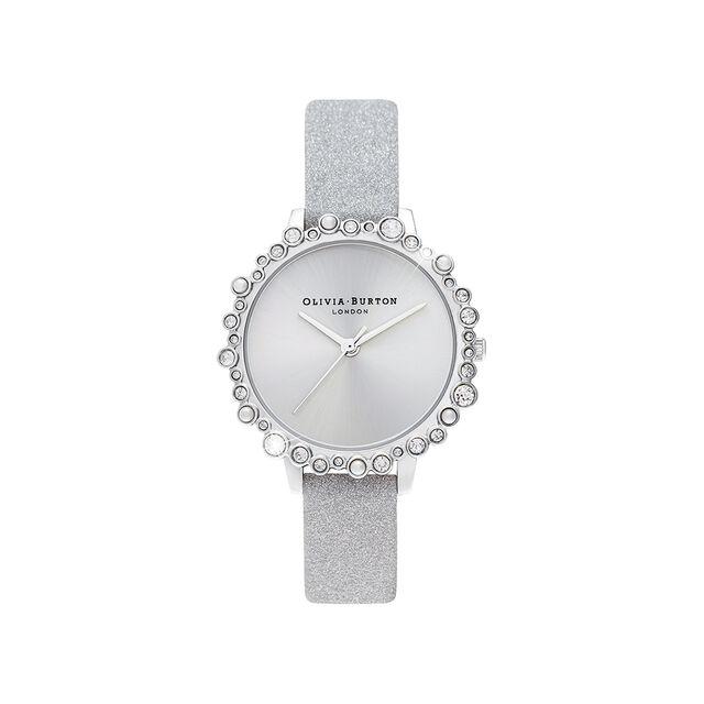 Bubble Case Midi Dial Grey Glitter Strap & Silver Watch